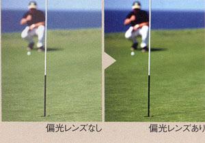 ゴルフに適したサングラスとして、偏光機能をもった偏光サングラスをお奨め。
