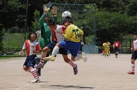 子供サッカーメガネの装用シーン
