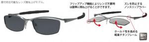 跳ね上げ式スポーツメガネはゴルフ、釣り、ウォーキング時に便利なフレームです。