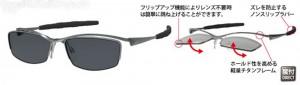 跳ね上げ式スポーツサングラスはウォーキング時にとても便利なサングラスです。