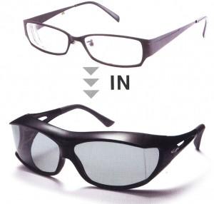 めがねを掛けたままサングラスを掛ける便利なオバーサングラスのご提案。