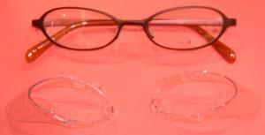 自転車用花粉症対策メガネ、普段のメガネ兼用自転車フレームに取り付け