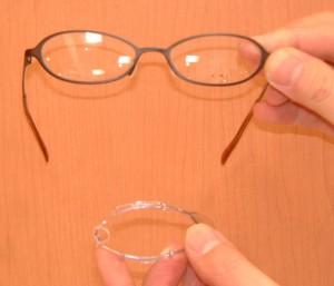 キッズ用花粉症対策スポーツ、普段のメガネ兼用フレームに取り付け