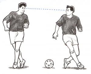 サッカーどきのアイコンタクト