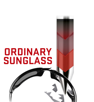 一般のサングラスが鋭利な物で衝撃があった場合